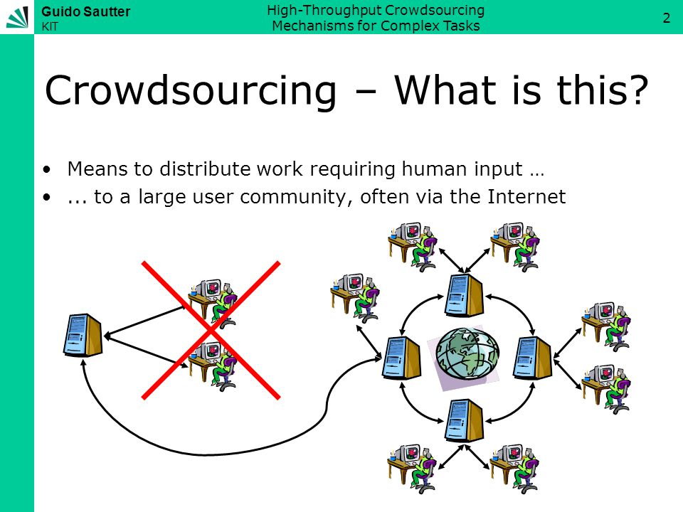 Guido Sautter KIT High-Throughput Crowdsourcing Mechanisms for Complex Tasks 3 Crowdsourcing - Examples Real-world examples: –ReCAPTCHA: Double-keying words from images –Distributed Proofreaders: Proofreading OCR results –Search for Ken Fosset: Satellite image processing –...