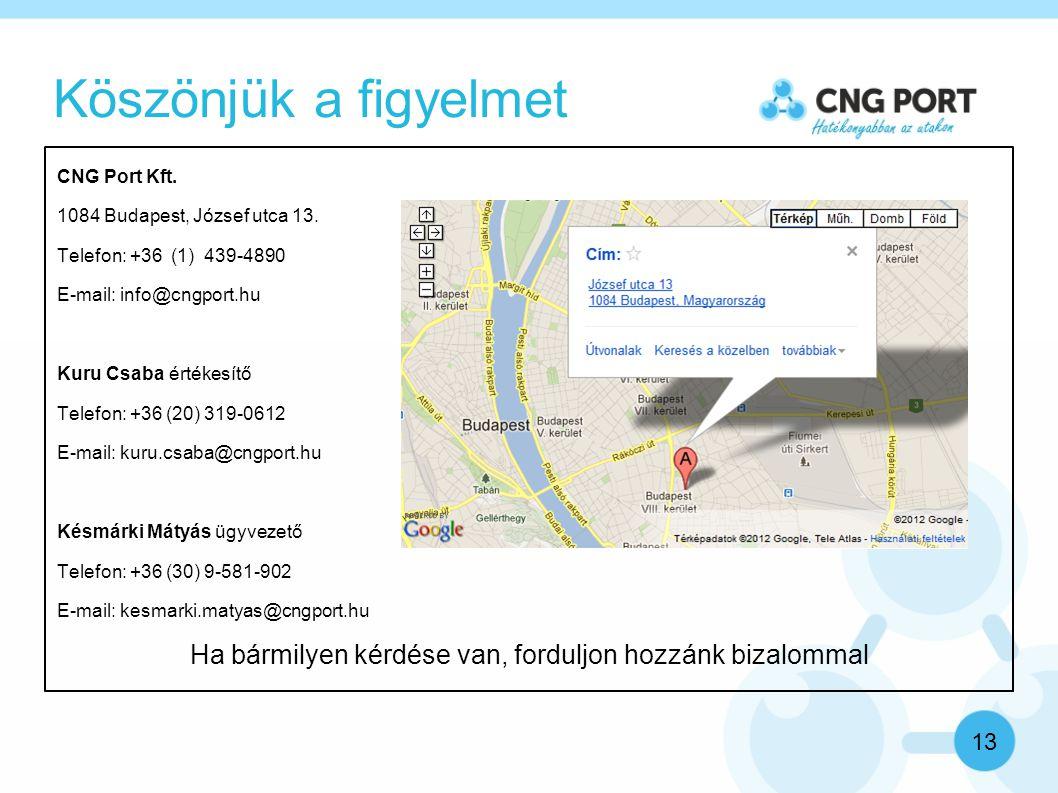 Köszönjük a figyelmet 13 CNG Port Kft. 1084 Budapest, József utca 13.