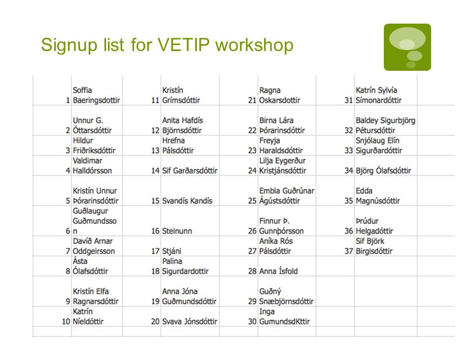 Signup list for VETIP workshop