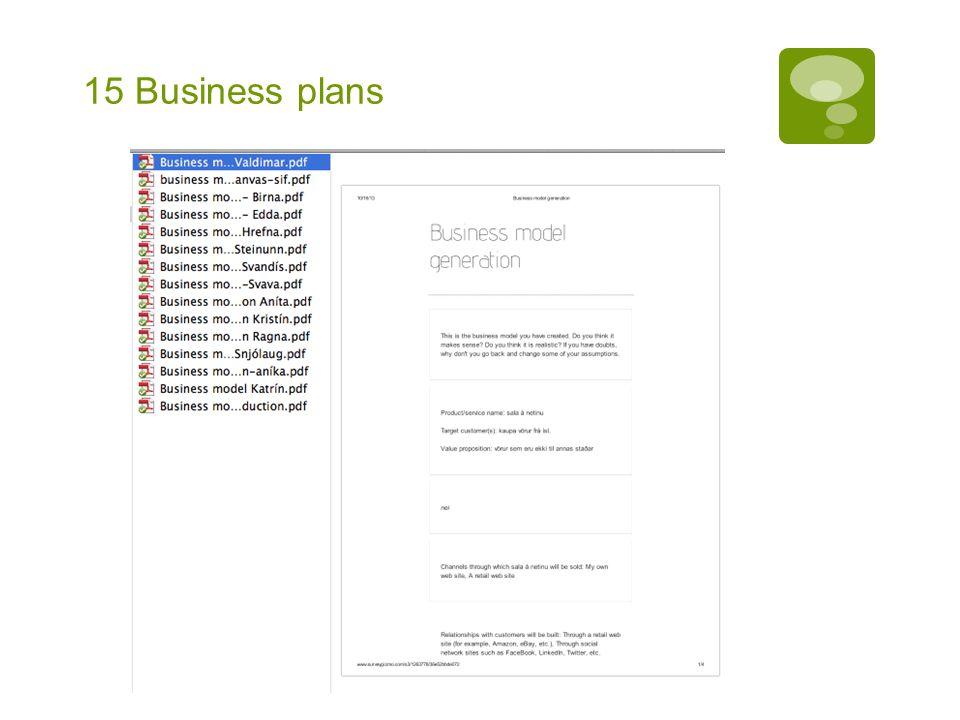 15 Business plans