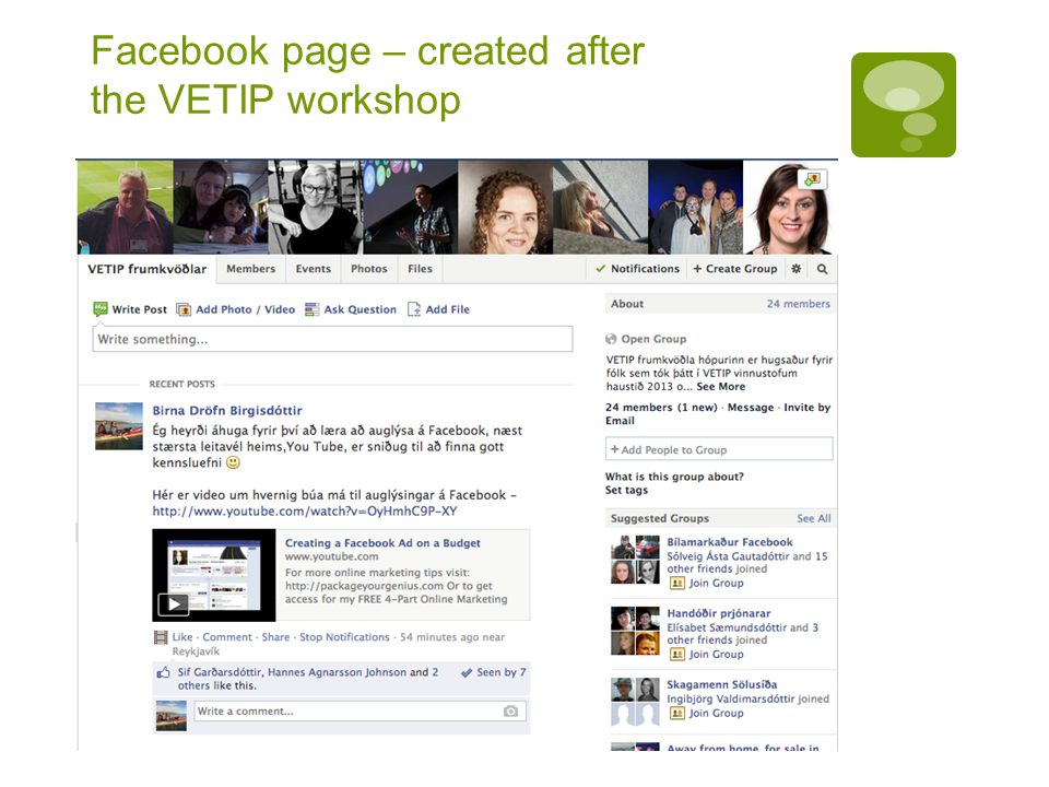 Facebook page – created after the VETIP workshop