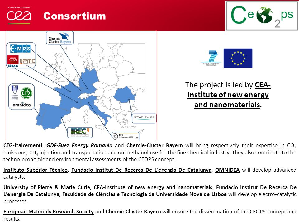 Consortium The project is led by CEA- Institute of new energy and nanomaterials.