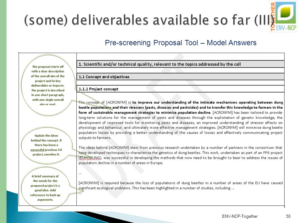 ENV-NCP-Together50 Pre-screening Proposal Tool – Model Answers