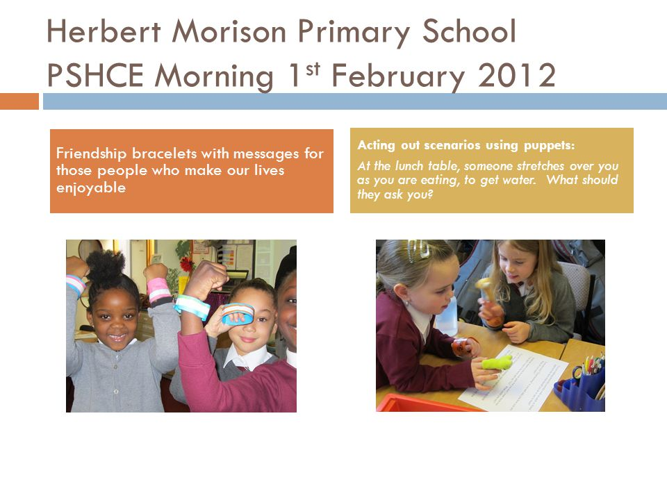 Herbert Morison Primary School Years 3 & 4 Supporting each other to make friendship bracelets and generosity trees