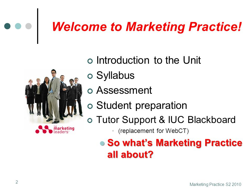 Welcome to Marketing Practice! Introduction to the Unit Syllabus Assessment Student preparation Tutor Support & IUC Blackboard (replacement for WebCT)