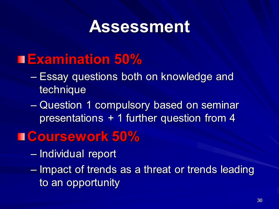 Assessment Examination 50% –Essay questions both on knowledge and technique –Question 1 compulsory based on seminar presentations + 1 further question from 4 Coursework 50% –Individual report –Impact of trends as a threat or trends leading to an opportunity 30