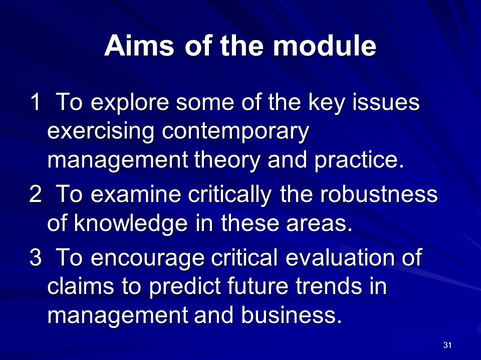 Aims of the module 1 To explore some of the key issues exercising contemporary management theory and practice.