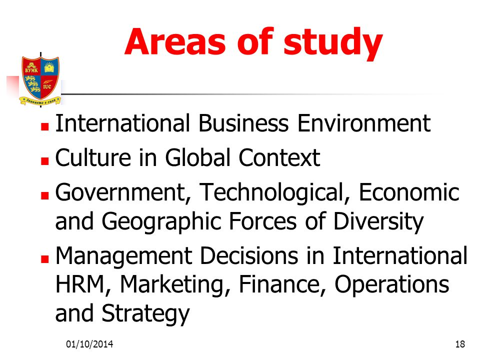 01/10/201418 Areas of study International Business Environment Culture in Global Context Government, Technological, Economic and Geographic Forces of Diversity Management Decisions in International HRM, Marketing, Finance, Operations and Strategy