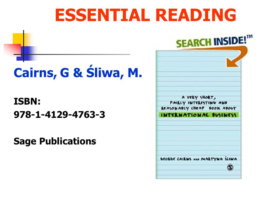 ESSENTIAL READING Cairns, G & Śliwa, M. ISBN: 978-1-4129-4763-3 Sage Publications