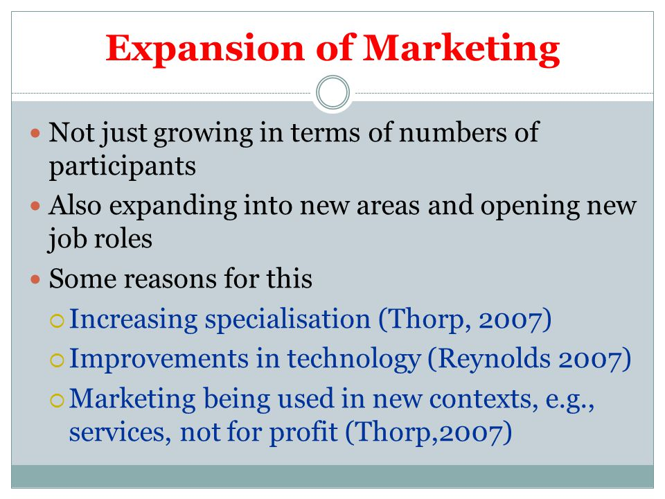 Expansion of Marketing Not just growing in terms of numbers of participants Also expanding into new areas and opening new job roles Some reasons for this  Increasing specialisation (Thorp, 2007)  Improvements in technology (Reynolds 2007)  Marketing being used in new contexts, e.g., services, not for profit (Thorp,2007)