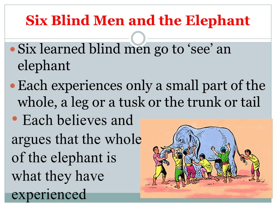 Six learned blind men go to 'see' an elephant Each experiences only a small part of the whole, a leg or a tusk or the trunk or tail Each believes and argues that the whole of the elephant is what they have experienced