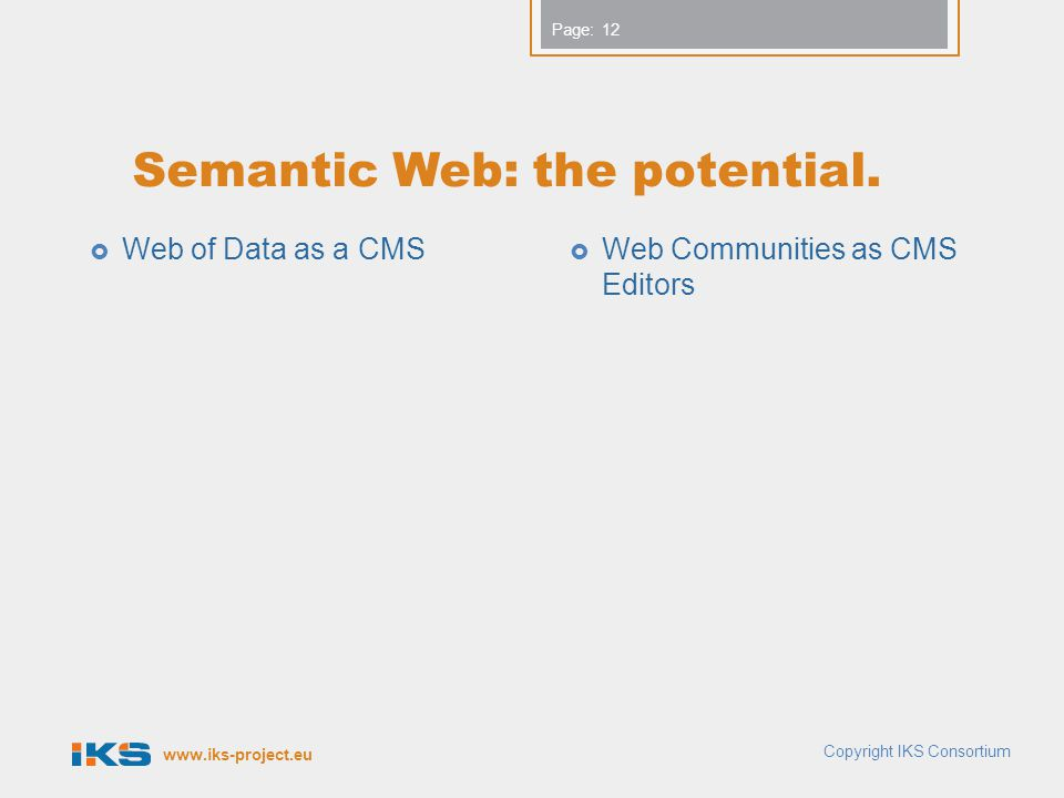 www.iks-project.eu Page: Semantic Web: the potential.  Web of Data as a CMS  Web Communities as CMS Editors 12 Copyright IKS Consortium