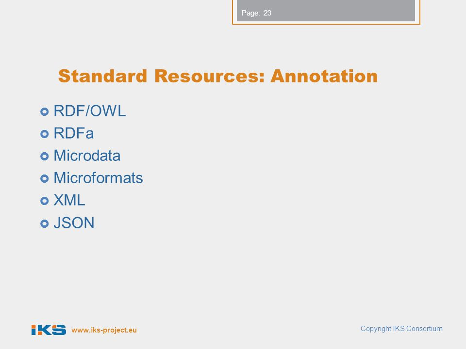 www.iks-project.eu Page: Standard Resources: Annotation  RDF/OWL  RDFa  Microdata  Microformats  XML  JSON 23 Copyright IKS Consortium