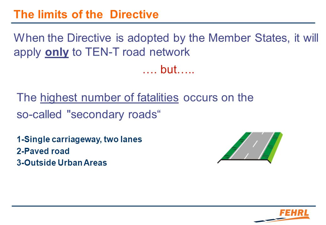 When the Directive is adopted by the Member States, it will apply only to TEN-T road network …. but….. The highest number of fatalities occurs on the