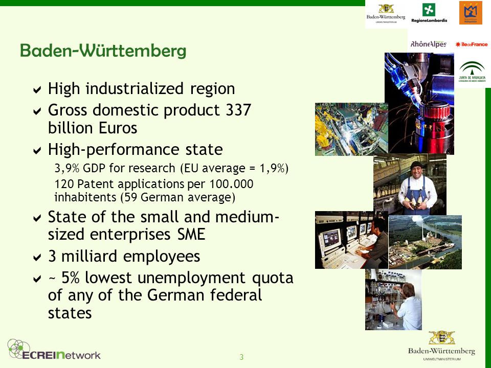 3 Baden-Württemberg  High industrialized region  Gross domestic product 337 billion Euros  High-performance state 3,9% GDP for research (EU average = 1,9%) 120 Patent applications per 100.000 inhabitents (59 German average)  State of the small and medium- sized enterprises SME  3 milliard employees  ~ 5% lowest unemployment quota of any of the German federal states