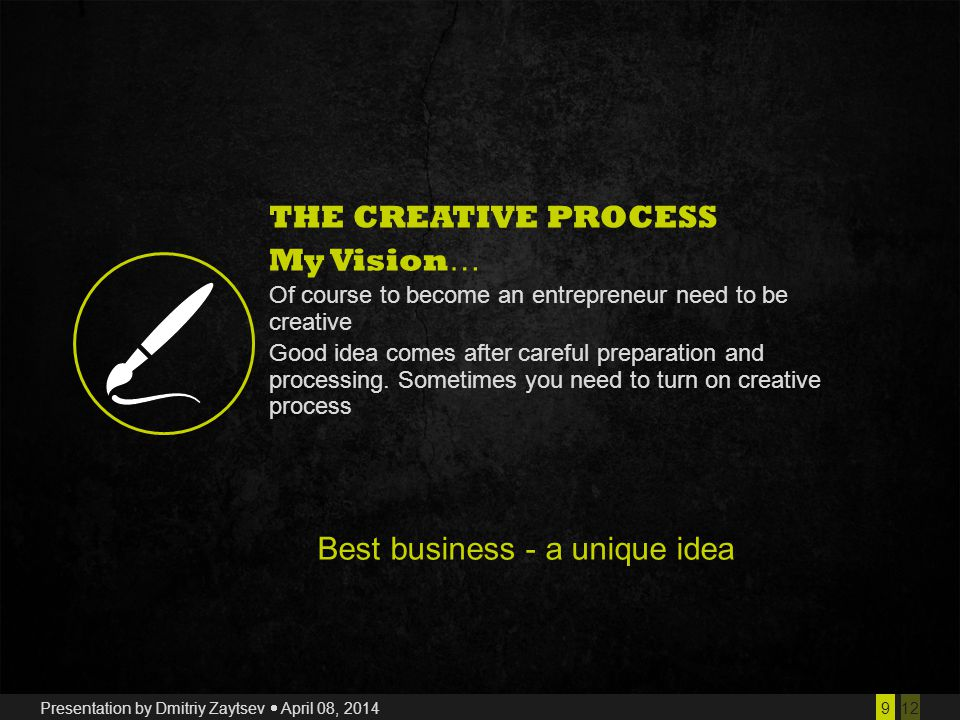 129 Presentation by Dmitriy Zaytsev  April 08, 2014 THE CREATIVE PROCESS My Vision … Of course to become an entrepreneur need to be creative Good idea comes after careful preparation and processing.
