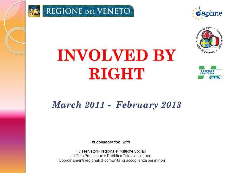 INVOLVED BY RIGHT March 2011 - February 2013 In collaboration with - Osservatorio regionale Politiche Sociali - Ufficio Protezione e Pubblica Tutela dei minori - Coordinamenti regionali di comunità di accoglienza per minori