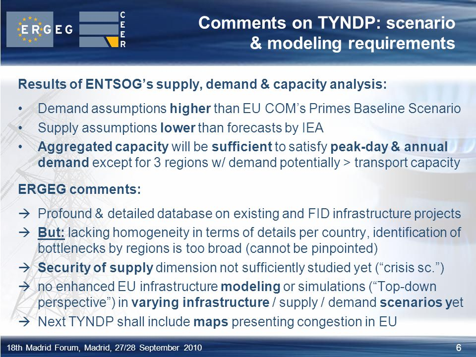 6 18th Madrid Forum, Madrid, 27/28 September 2010 Comments on TYNDP: scenario & modeling requirements Results of ENTSOG's supply, demand & capacity an