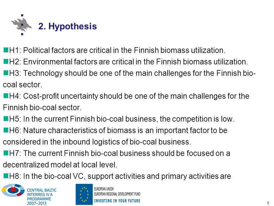 5 H1: Political factors are critical in the Finnish biomass utilization.