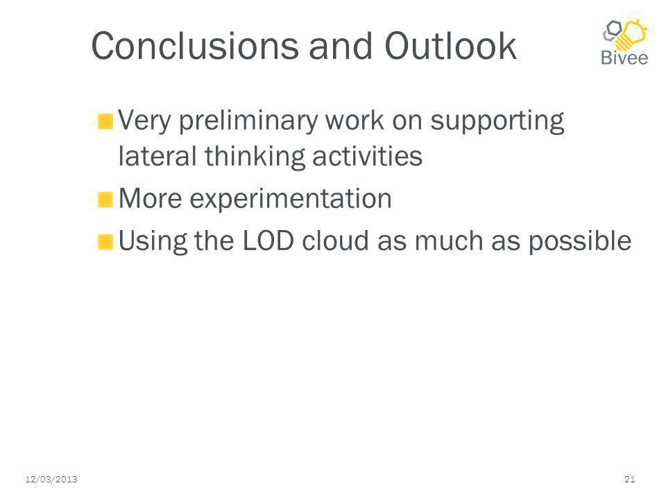 12/03/2013 21 Conclusions and Outlook Very preliminary work on supporting lateral thinking activities More experimentation Using the LOD cloud as much as possible