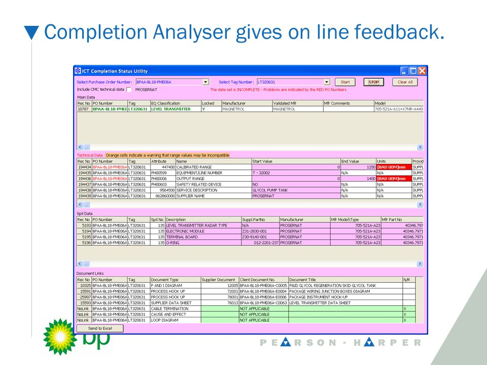 Completion Analyser gives on line feedback.
