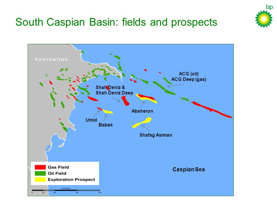 South Caspian Basin: fields and prospects Babek Shafag Asiman Absheron Shah Deniz & Shah Deniz Deep ACG (oil) ACG Deep (gas) Umid Caspian Sea