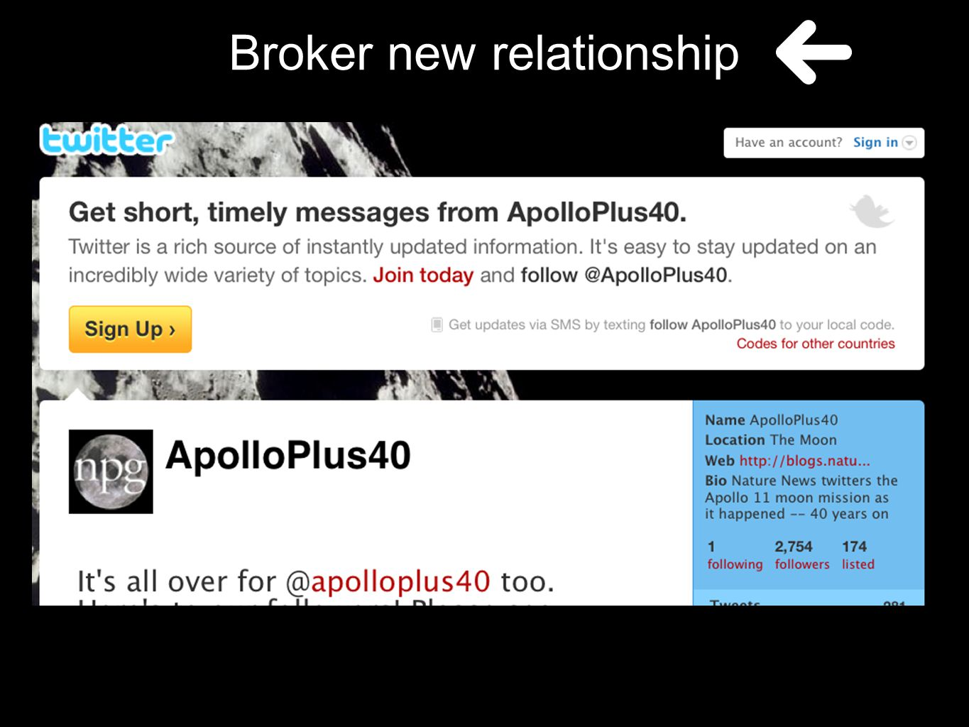 Broker new relationship
