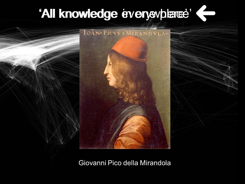 Giovanni Pico della Mirandola 'All knowledge in one place' 'All knowledge everywhere'