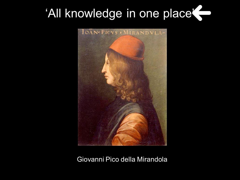Giovanni Pico della Mirandola 'All knowledge in one place'