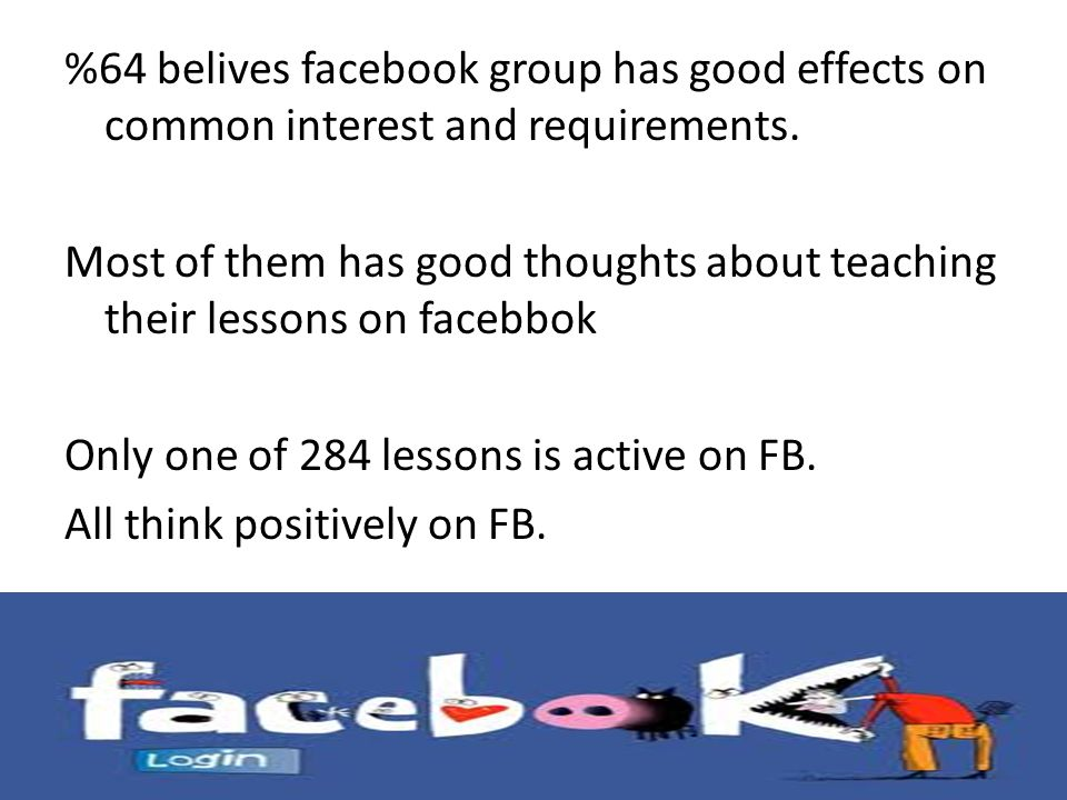 %64 belives facebook group has good effects on common interest and requirements.