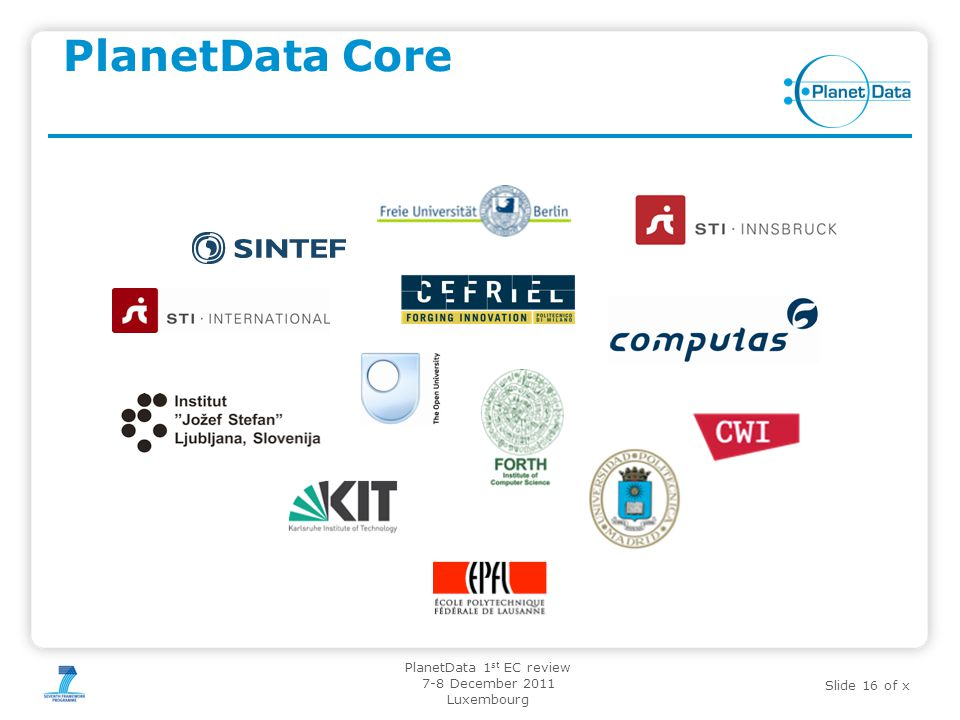 Slide 16 of x PlanetData 1 st EC review 7-8 December 2011 Luxembourg PlanetData Core