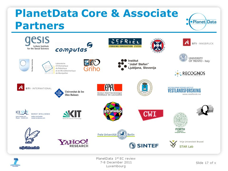 Slide 17 of x PlanetData 1 st EC review 7-8 December 2011 Luxembourg PlanetData Core & Associate Partners