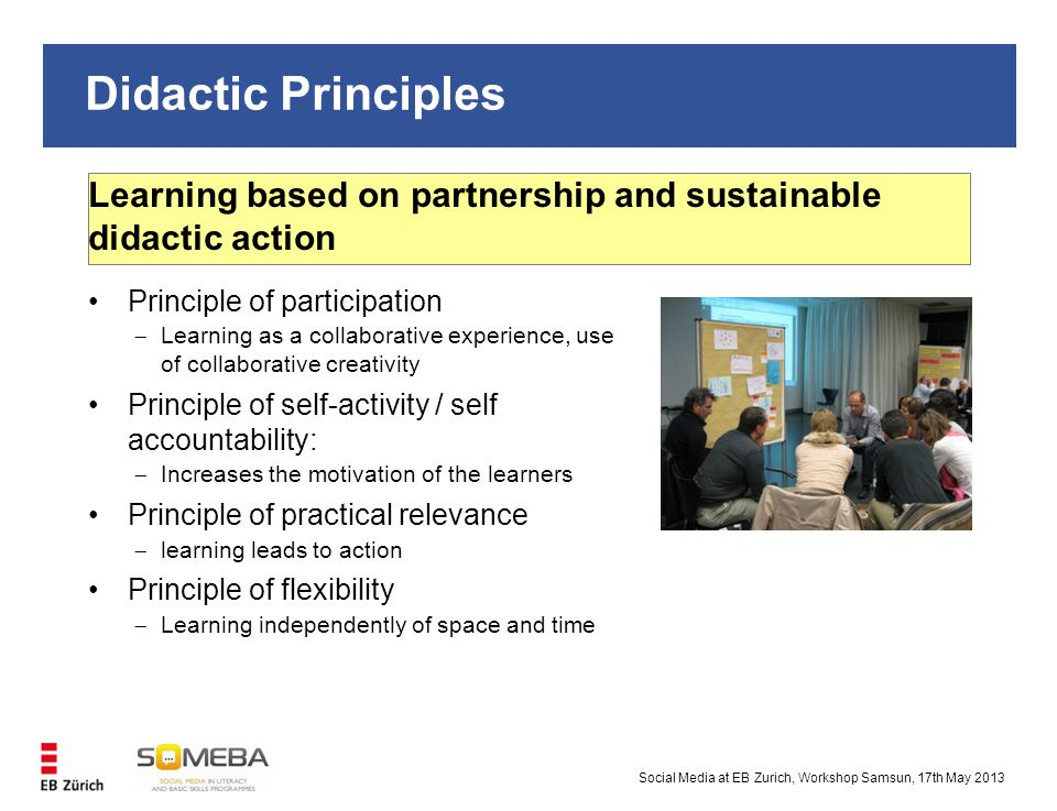Didactic Principles Social Media at EB Zurich, Workshop Samsun, 17th May 2013 Learning based on partnership and sustainable didactic action Principle of participation  Learning as a collaborative experience, use of collaborative creativity Principle of self-activity / self accountability:  Increases the motivation of the learners Principle of practical relevance  learning leads to action Principle of flexibility  Learning independently of space and time