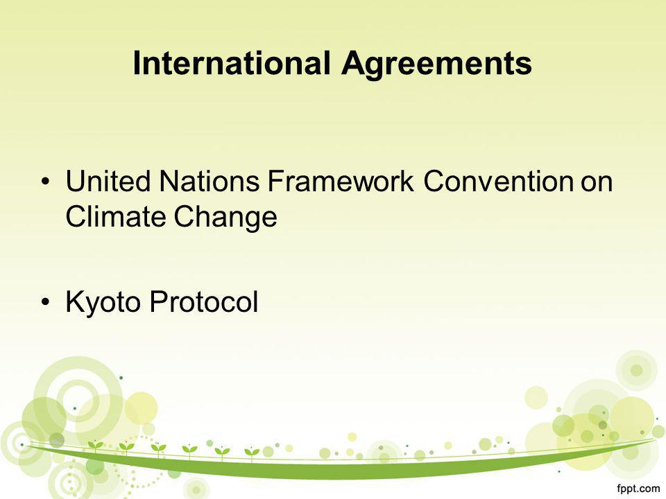 International Agreements United Nations Framework Convention on Climate Change Kyoto Protocol