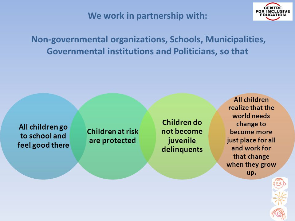 We work in partnership with: Non-governmental organizations, Schools, Municipalities, Governmental institutions and Politicians, so that All children go to school and feel good there Children at risk are protected Children do not become juvenile delinquents All children realize that the world needs change to become more just place for all and work for that change when they grow up.