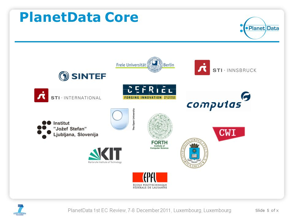 Slide 5 of x PlanetData Core PlanetData 1st EC Review, 7-8 December 2011, Luxembourg, Luxembourg