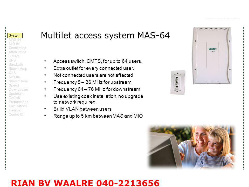 a macab power point presentation RIAN BV WAALRE 040-2213656 Multilet access system MAS-64 Access switch, CMTS, for up to 64 users.