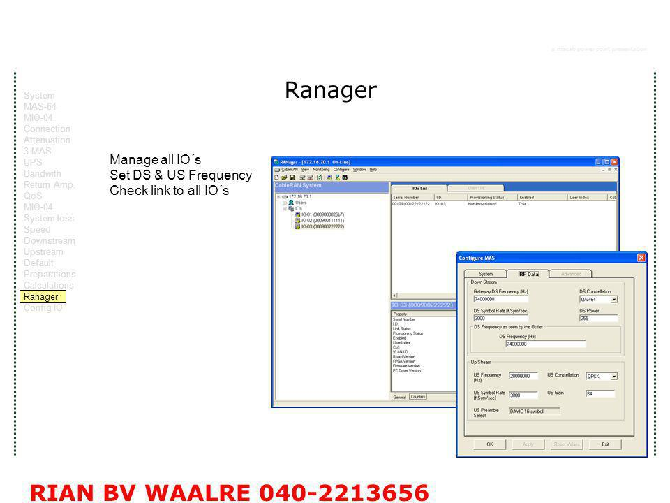 a macab power point presentation RIAN BV WAALRE 040-2213656 Ranager Manage all IO´s Set DS & US Frequency Check link to all IO´s System MAS-64 MIO-04 Connection Attenuation 3 MAS UPS Bandwith Return Amp.