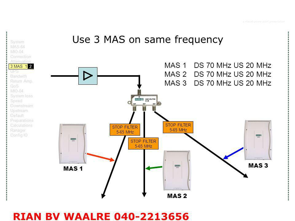 a macab power point presentation RIAN BV WAALRE 040-2213656 Use 3 MAS on same frequency STOP FILTER 5-65 MHz STOP FILTER 5-65 MHz STOP FILTER 5-65 MHz MAS 1 MAS 2 MAS 3 MAS 1 DS 70 MHz US 20 MHz MAS 2DS 70 MHz US 20 MHz MAS 3 DS 70 MHz US 20 MHz System MAS-64 MIO-04 Connection Attenuation 3 MAS 1 2 UPS Bandwith Return Amp.
