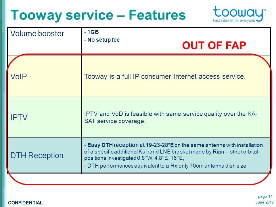 CONFIDENTIAL June 2010 page 17 Tooway service – Features Volume booster - 1GB - No setup fee VoIP Tooway is a full IP consumer Internet access service.