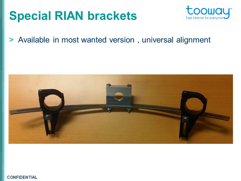 CONFIDENTIAL Special RIAN brackets  Available in most wanted version, universal alignment