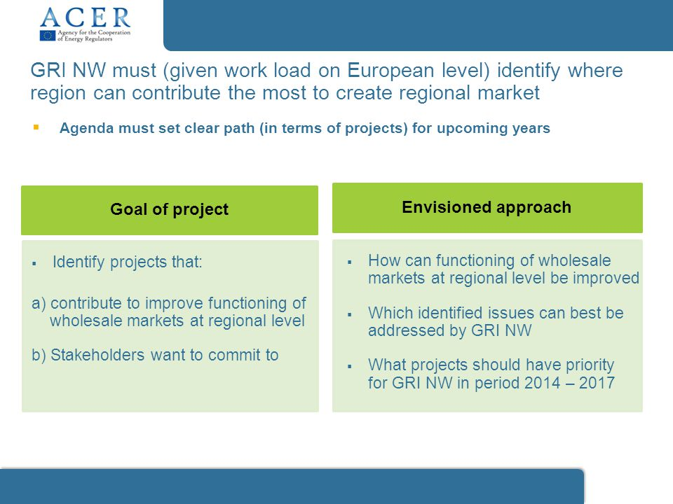 GRI NW must (given work load on European level) identify where region can contribute the most to create regional market Envisioned approach  Identify