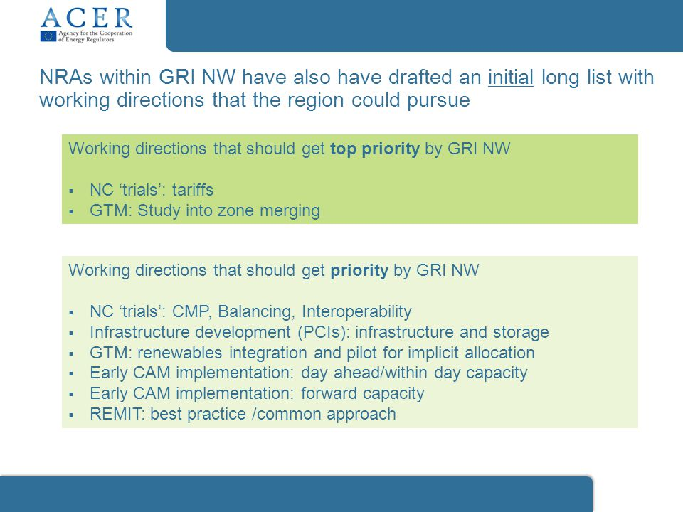 Working directions that should get top priority by GRI NW  NC 'trials': tariffs  GTM: Study into zone merging Working directions that should get pri