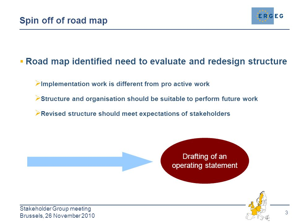 3 Stakeholder Group meeting Brussels, 26 November 2010 Spin off of road map  Road map identified need to evaluate and redesign structure  Implementa