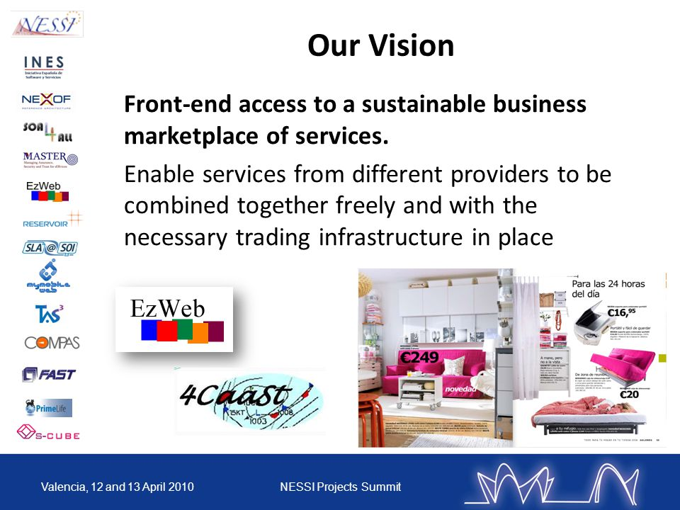 Our Vision Front-end access to a sustainable business marketplace of services. Enable services from different providers to be combined together freely