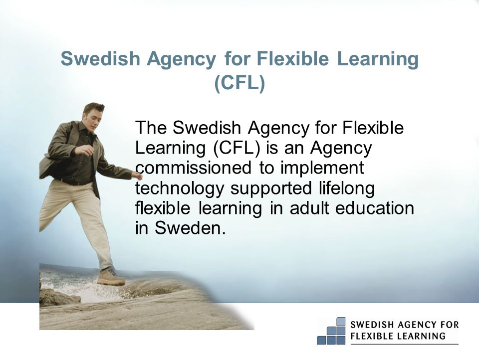 Swedish Agency for Flexible Learning (CFL)  Works with the development of flexible forms for adult learning  Is a state authority under the Ministry of Education, Research and Culture
