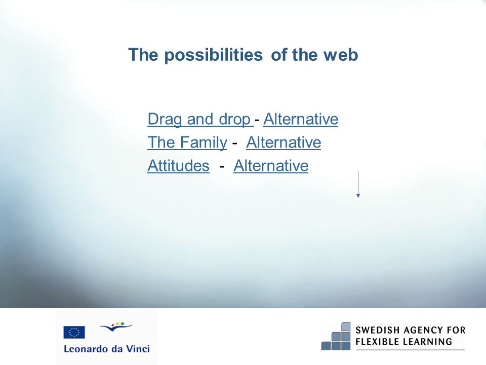 The possibilities of the web Drag and drop Drag and drop - Alternative Alternative The FamilyThe Family - AlternativeAlternative AttitudesAttitudes - AlternativeAlternative