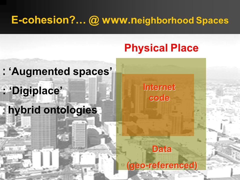 E-cohesion … @ www.n eighborhood Spaces Data(geo-referenced) Physical Place Internet code : 'Augmented spaces' : 'Digiplace' : hybrid ontologies