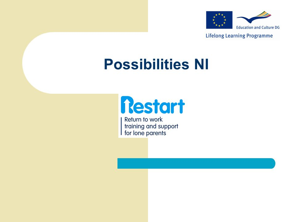About Possibilities NI  Established in 2008  Owned by lone parent charity, Gingerbread NI  Training through government contracts e.g.