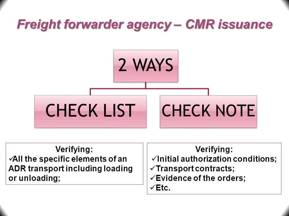 Freight forwarder agency – CMR issuance Verifying: Initial authorization conditions; Transport contracts; Evidence of the orders; Etc. 2 WAYS CHECK LI